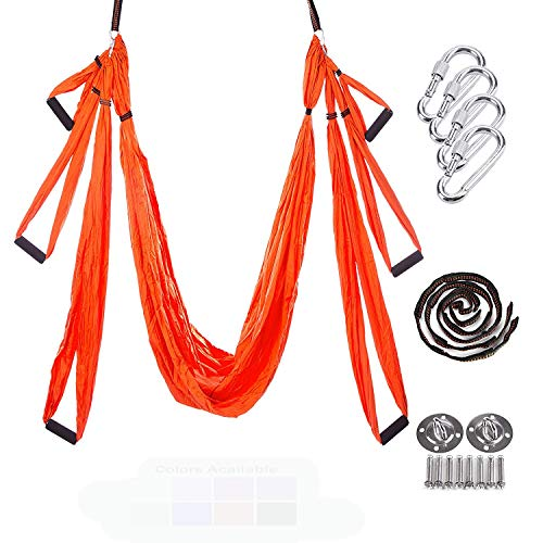 WIVION Yoga-Schaukel, Luftaufnahme mit hoher Tragfähigkeit Yoga-Schaukel/Inversion/Hängematte/Tragetuch für Antigravity mit Tragetasche (orange)