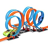 FORTY4 Loop-Stunt Race Car Track Set, 95 Piece Stem Building Toys, 15 ft Super Long Track, 2 Friction Cars for High Speed Race & Crash, Birthday Gift for 3-12 Years Old Kids