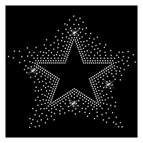 Strass Stern star hotfix 21x17 cm Bügelbild Applikation Strasssteine