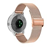 YOOSIDE Correa de metal para Garmin Vivoactive 3/Garmin Venu, correa de acero inoxidable trenzado de malla para Samsung Galaxy Watch 3 41 mm/Active 2 40 mm 44 mm (oro rosa)