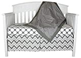 Bacati Dots and Chevron 4-in-1 Cotton Baby Crib Bedding Set, Grey