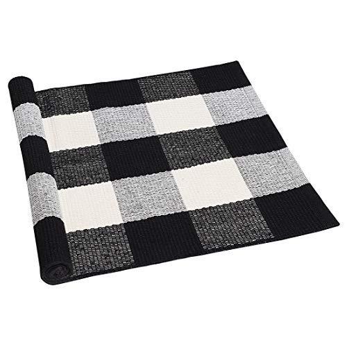 DealMux Cotton Plaid Area Boden Teppiche Teppich Indoor Outdoor, Woven waschbar Buffalo Checkered Mat Teppiche, Retro Fußmatte Runner Teppich für Veranda schwarz und weiß 27,6 X17,7 Zoll