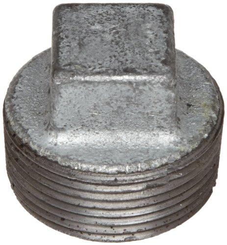 """Anvil 8700159851, Malleable Iron Pipe Fitting, Square Head Plug, 1/2"""" NPT Male, Galvanized Finish"""
