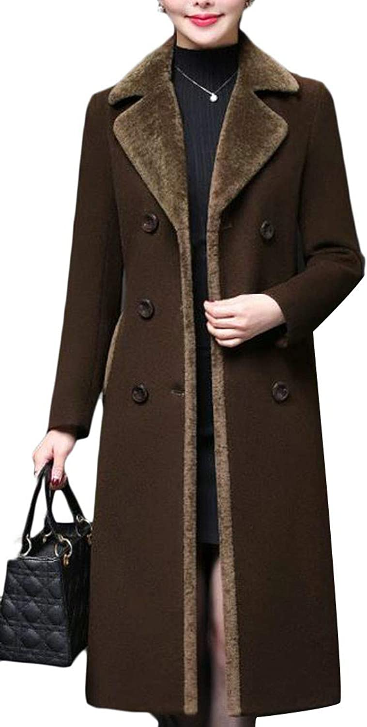 Agana Women Thick Winter Woolen Double Breasted Lapel Long Jacket Coat