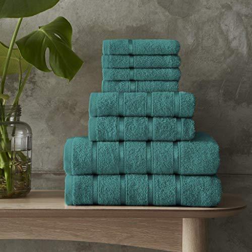 BOSTON - Juego de 8 toallas de lujo 100% algodón egipcio extra absorbentes (verde azulado)