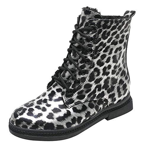 MYMYG Ankle Boots Damen Chelsea Stiefel Frauen quadratischer Absatz-Leopard-Druck-Schuhe Martain-Stiefel halten warme runde Zehenschuhe Übergrößen Freizeit Winterstiefel Schneeschuhe
