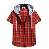 Xmiral Camicia Elegante Uomo Camicie Button Down Maglia t Shirt Maglietta Camicia a Maniche Corte a Quadri con Cappuccio da Uomo, Bavero Sciolto Casual Estivo (S,7Rosso)