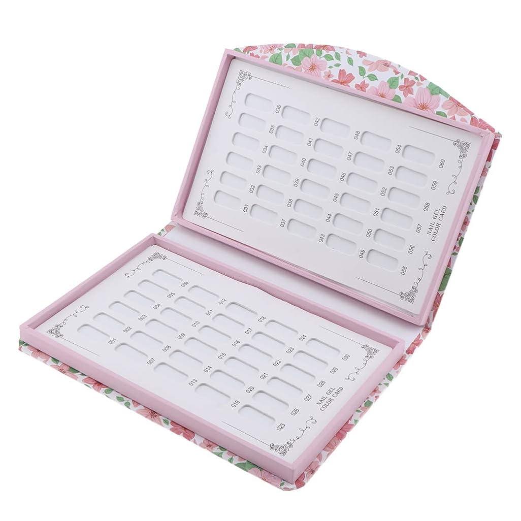 洗剤バラ色シャックルP Prettyia カラーチャート ブック 約60色 ネイルマニキュアカラー色見本 プロ ネイルサロン