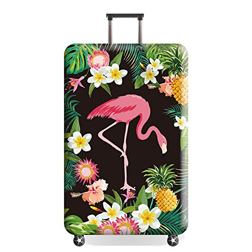 Youth Union Kofferhülle Elastisch Koffer Schutzhülle Flamingo Muster 18-32 Zoll Luggage Cover Protector Kofferschutzhülle mit Reißverschluss (Flamingo 12, S)