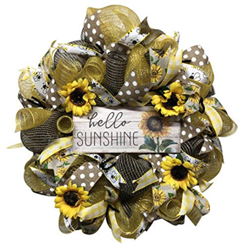 IYSHOUGONG 1 PC Bee Sunflower Wreath Bee Gate Wreath Bees Welcome Colorful Summer Wreath Artificial Garland Hanging Pendants for Home Decor Indoor Outdoor Hanging Ornaments