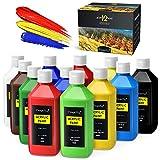 Magicfly Pinturas Acrílicas, 12 Colores/473 ml, Botella Grande de Pintura Acrílica para Manualidades, Lienzos, Madera, Piedras, Cerámica, para Niños, Adultos, Artistas