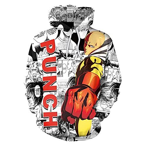 2021 New Men's UnSex One Punch-Man Hoodie Felpa con cappuccio Saitama stampa felpa con cappuccio Giacca (Color : 1q, Size : XL)