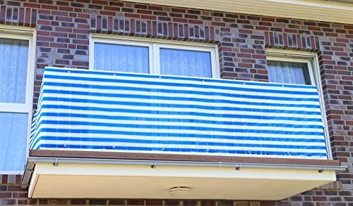 S&D Smart Deko 700x90cm Blau Weiß Streifen Balkonsichtschutz, Balkonverkleidung, Windschutz, Sichtschutz und UV-Schutz für Balkon, Gartenanlagen, Camping und Freizeit (700x90cm)