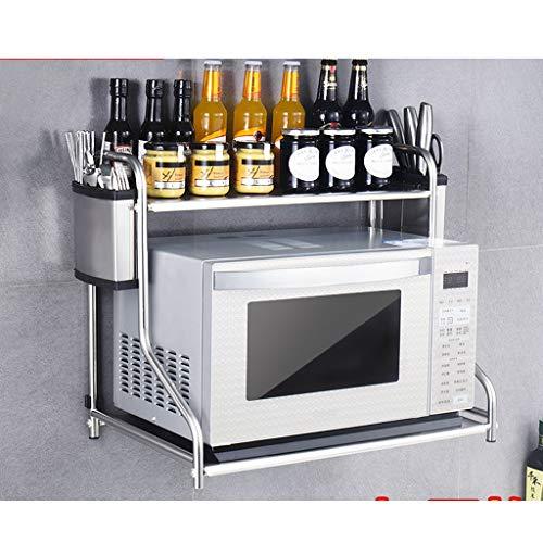 SMBYLL Edelstahl-Doppelregal-Küchenablage 53 * 37 * 48cm Mikrowellenhalterung (Farbe : B, größe : 53cm)
