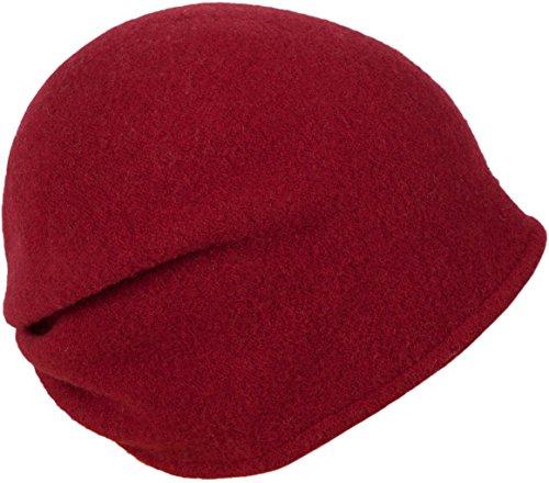 LOEVENICH modische Damen Beanie Wollmütze aus Reiner Schurwolle, Farbe: Rubinrot