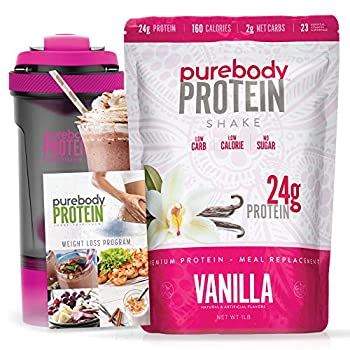 Pure Body Protein Weight Loss Program Rich thick and delicious 24G Protein 180 Calories 1 Carb Comes with smart shaker cup and low carb/keto/paleo friendly meal guide  Vanilla