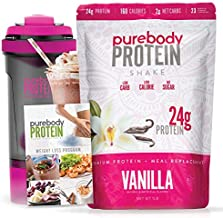Pure Body Protein Weight Loss Program. Rich, thick and delicious. 24G Protein, 180 Calories, 1 Carb, Comes with smart shaker cup, and low carb/keto/paleo friendly meal guide. (Vanilla)