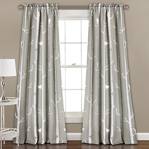 """Lush Décor Bird on The Tree Curtains Room Darkening Window Panel Set for Living, Dining, Bedroom (Pair), 84"""" L, Gray, 2 Count"""