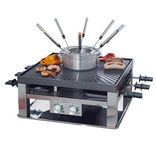 Solis Raclette, tafelgrill en/of vleesfondue, 8 personen, roestvrij staal, combi-grill 3-in-1 (type 796)
