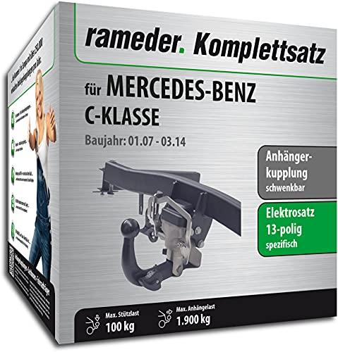 Rameder Set, Anhängerkupplung schwenkbar + 13pol Elektrik kompatibel für Mercedes-Benz C-KLASSE (123630-06224-3)