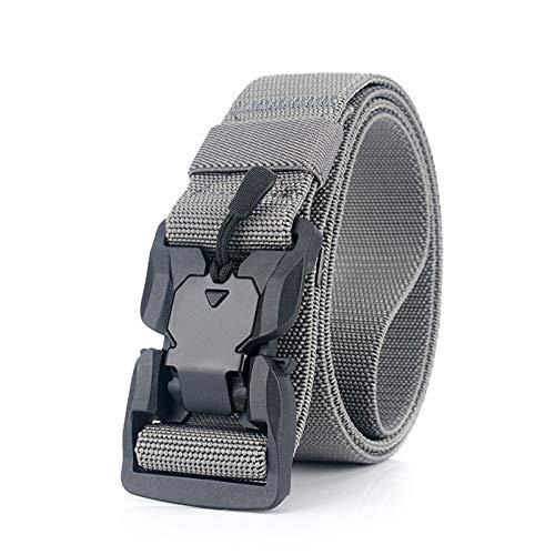 DORRISO Hombre Cinturón Táctico Servicio Pesado Cinturón Liberación Rápida Cinturones Militares Deportes Viajar Ajustable Cinturones Nylon Gris B