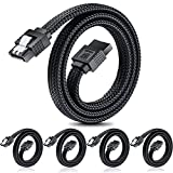 SATA III Cable,Electop 6Gbps Straight HDD SDD Data Cable, SATA 3.0 Nylon Braided Cable with Locking Latch for SATA HDD, SSD, CD Driver, CD Writer(20 Inch, Black,5 Pack)