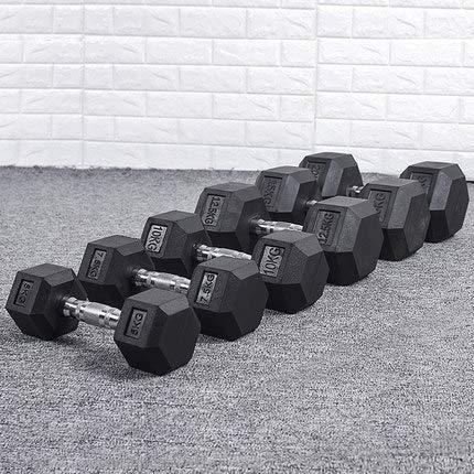 LYDF - Set di 2 manubri esagonali in gomma con manici in metallo, 2 manubri pesanti, peso 15 kg