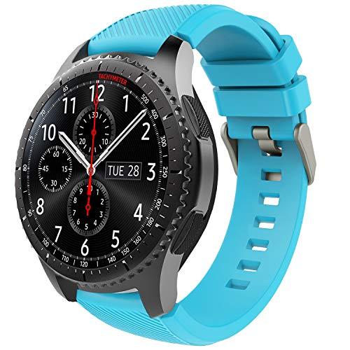 TiMOVO Samsung Gear S3 Frontier/Galaxy Watch 46mm Band, Soft Silicone Strap with Watch Lug Compatible with Samsung Gear S3 Frontier / S3 Classic/Moto 360 2nd Gen 46mm Smart Watch - Blue