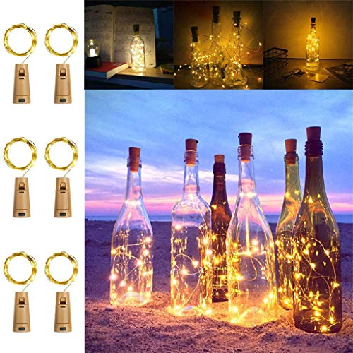 KooPower Bottle Lights with Cork, [6 Pack] 2M 20 LEDs Battery Operated Fairy String Lights [Timer & 5 Modes] for DIY Decoration, Bedroom, Christmas, Halloween, Party, Wedding, Easter (Warm White)