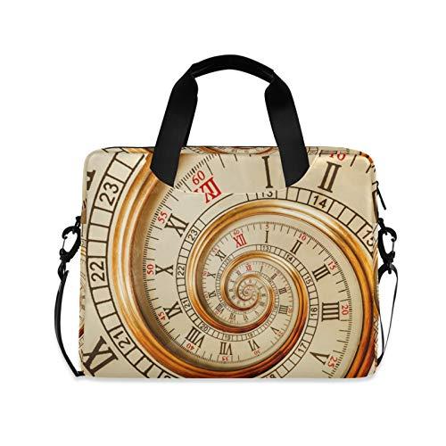 RELEESSS Laptop-Hülle, alte Spiral-Uhr, Laptop-Handtasche, Aktentasche, Kuriertasche, Tragetasche, Tasche, verstellbarer Schultergurt