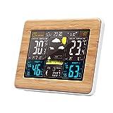 Stazione Meteo Meterologica Digitale, Wireless Sensore Esterno Stazione Meteorologica con Ampio Schermo LCD Display Sveglia Tempo Data Temperatura umidità Previsioni di Tempo