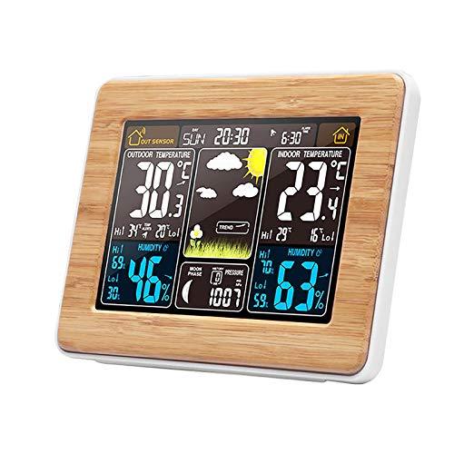 Estación meteorológica digital inalámbrica con sensor exterior estación meteorológica con gran pantalla LCD, despertador, hora, fecha, temperatura y humedad, previsión de tiempo