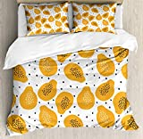 Juego de Funda nórdica Summer Orange, Motivos de Frutas de Papaya y Semillas en un patrón de Fondo Liso, Juego de Cama Decorativo de 3 Piezas con 2 Fundas de Almohada, Naranja pálido Gris carbón