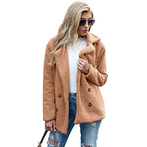 Whitzard Abrigo de mujer casual de dos filas de piel sintética corta con solapa, manga larga, monocolor, para invierno, elegante y cálido camel M