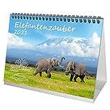Elefantenzauber Calendario de mesa DIN A5 para 2021 elefantes Set de regalo: además 1 tarjeta de felicitación y 1 tarjeta de Navidad – Maravilloso