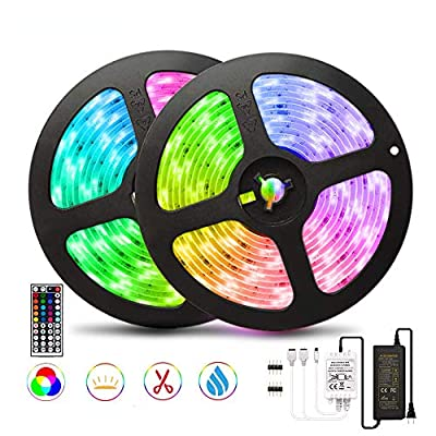 32.8ft/10M LED Strip Light RGB NUOENXUAN Flexible Rope Lights 5050 SMD RGB 600 LEDs Waterproof 2x5M Tape Light with 44 Keys Wireless Remote Control and 12V Power Adapter for Home Kitchen Holiday Deco