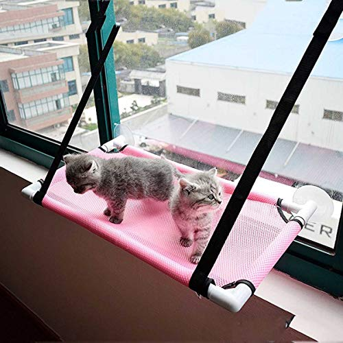 Hi-Hins Cat Window Perch, Large Bed Hammock Design for Any Cat Size, Deluxe Breathable Woven Fabric, Giant Suction Cups, The Best Window Cat Seat,Pink
