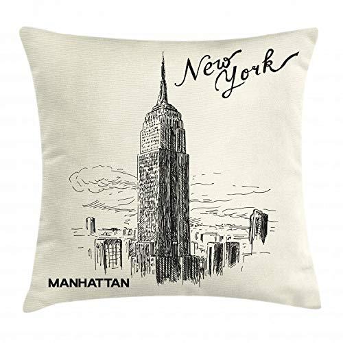 ABAKUHAUS Nueva York Funda para Almohada, Los Rascacielos Urbanos, Apto para Uso en Interiores y Exteriores Colores Firmes, 45 x 45 cm, Negro Cáscara De Huevo