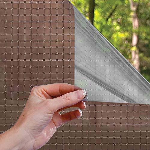 LC&TEAM Fensterfolie Spiegelfolie Verdicken selbsthaftend statischer Sichtschutzfolie Sonnenschutzfolie Fenster Folie für Haus, Büro 75 x 300 cm Kariert Muster Braun