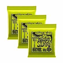3 Slinky 2221 Tamaño Regular. Calibre: 0,010, 0,013, 0,017, 0,026, 0,036 y 0,046. Hechas en EUA, tocadas en todo el mundo. Paquete que contiene 3 juegos.