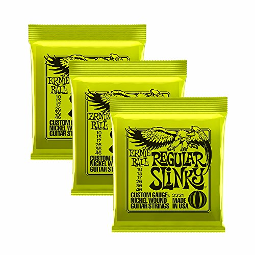 Ernie Ball 2221 X 3 10–46 Regular Slinky Cordes pour guitare électrique (lot de 3)