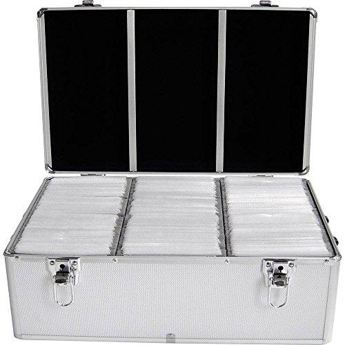 MediaRange Archivierungskoffer für 500 Discs, Aluminium-Optik, mit Einhängetaschen, silber