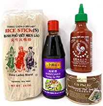 Quoc Viet Beef Soup Base Pho Bo, Huy Fong Sriracha Hot Chili Sauce, Lee Kum Kee Hoisin Sauce and Three Ladies Brand Rice Stick Banh Pho Bundle (PhoBoCompletePackage)