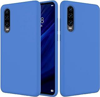 LENASH Fast Färg Liquid Silicone Stötsäker Full Coverage Case för Huawei P30 (Svart) Q Fallskydd (Color : Dark Blue)