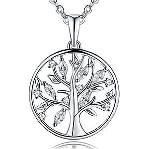 JO WISDOM Halskette Baum Des Lebens,Kette anhaenger silber 925 baum des lebens Familie Anhänger Halskette mit 3A Zirconia April Geburtsstein,Damen Schmuck,kette: 45-50CM