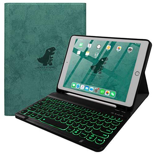 Strnry iPad Keyboard Case 9.7, Teclado Bluetooth Inalámbrico Desmontable Magnético Retroiluminado con Portalápices para iPad 9.7 Pulgadas 2018 / iPad 9.7 Pulgadas 2017 - Tecla Redonda,B Backlight