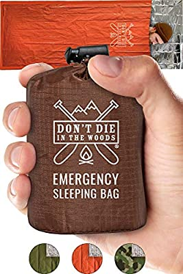 Emergency Sleeping Bag With Hood | Ultralight, Waterproof, Thermal Mylar Sleeping Bag Liner | Survival Bivy Space Blanket Bivey For Hiking, Backpacking, Earthquake, First Aid Kits, Camping Gear Orange