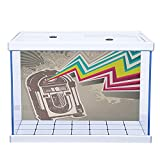 Fish Tank Background Poster Aquarium Décor Jukebox Antique Vintage Retro Radio Party with Colorful Zig Zag Design Image Light Grey and White 30'W x 12'H Self-Adhesive PVC Static Cling Wallpaper Sticke