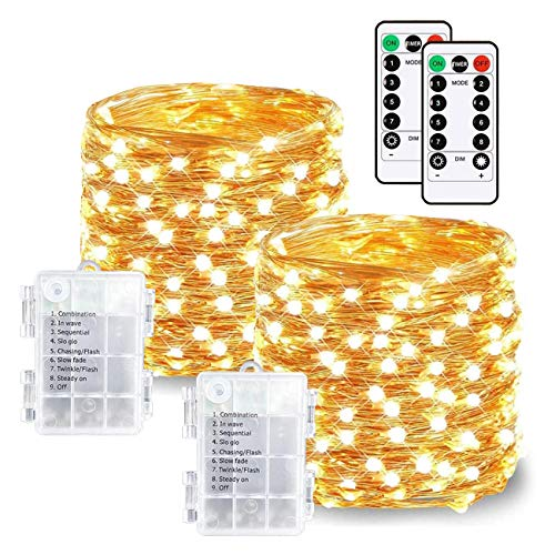 LED String Lights Battery Operated Fairy Lights 8 Modes 33ft 100 Led Waterproof Copper Wire Lights with Remote and Timer for Christmas Party Wedding Garden Bedroom Outdoor(Warm White, 2 Pack)