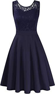 Clearlove Damen Kleider Elegant Spitzenkleid 3/4 Ärmel Cocktailkleid Rundhals Knielang Rockabilly KleidVerpackung MEHRWEG